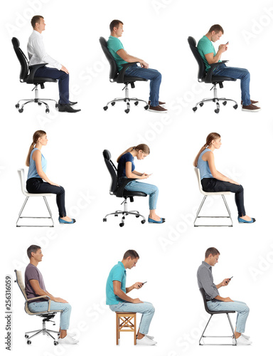 Collage of people sitting on chairs against white background. Posture concept Wall mural