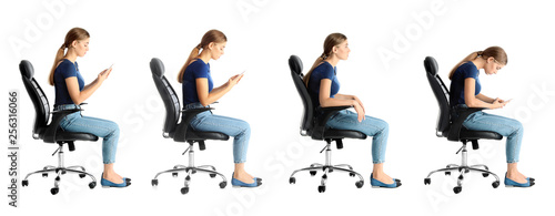 Collage of woman sitting on chair against white background Fotobehang