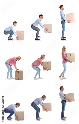 Fotomural  Collage of people lifting heavy cardboard box on white background