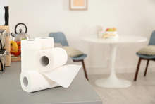 Rolls Of Paper Towels On Table...