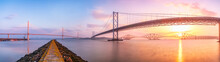 United Kingdom, Scotland, Firth Of Forth, Forth Road And Rail Bridges And The New Queensferry Crossing Bridge At Sunrise