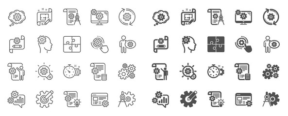Engineering line icons. Set of Idea bulb, Dividers tools and Blueprint linear icons. Cogwheel, calculate price, mechanical tools. Idea bulb with cog, architect dividers, engineering people. Vector