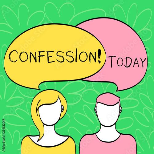 Fotografía  Conceptual hand writing showing Confession