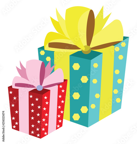 One big gift box with turquoise wrap paper with yellow hexagons and