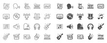 Music Line Icons. Set Of Acous...