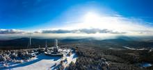 Germany, Hesse, Schmitten, Aerial View Of Grosser Feldberg, Aerial Mast Of Hr And Viewing Tower In Winter