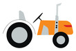 An orange tractor for farming vector or color illustration