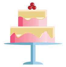 Two Layer Celebration Cake With Cherry Decoration Vector Or Color Illustration