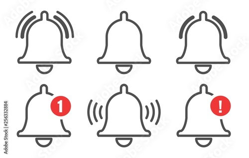 Fotomural  Notification bell outline icons set