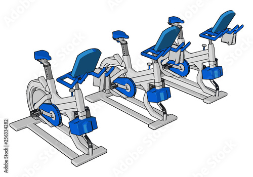 Fotografía  Many exercise in gym vector or color illustration