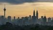 Kuala Lumpur time lapse during sunset or sunrise.