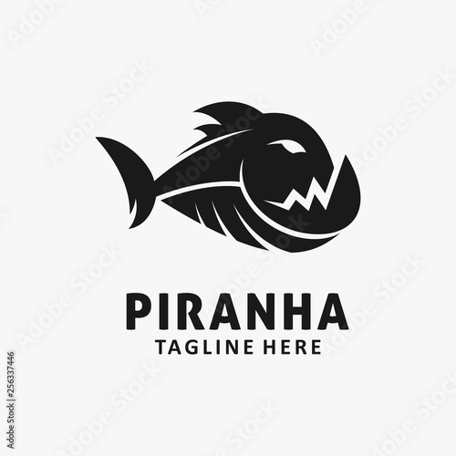 Piranha fish logo design Canvas-taulu