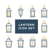 Ramadan Vintage Lantern Set. Islamic Antique Lamp Or Light, Muslim Traditional Line Art. Vector Flat Style Illustration Isolated On White Background
