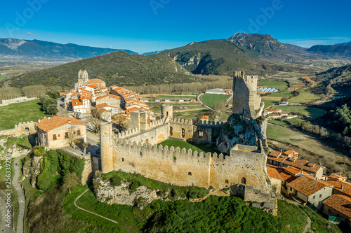 Frias aerial panorama of the medieval village with a castle and fortified bridge near Burgos in Castile and Leon Spain