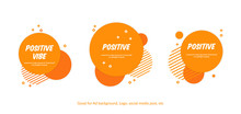 Set Of Flat Cheerful Orange Circle Background. Vector Memphis Style Background For Website, Banner, Covers, Flyer, Banner Or Print Design
