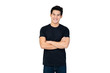 Handsome Asian man in casual black t-shirt with arm crossed