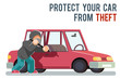 Isolated automobile car protection steal burglar robber thief danger man robbery purse character flat design vector illustration