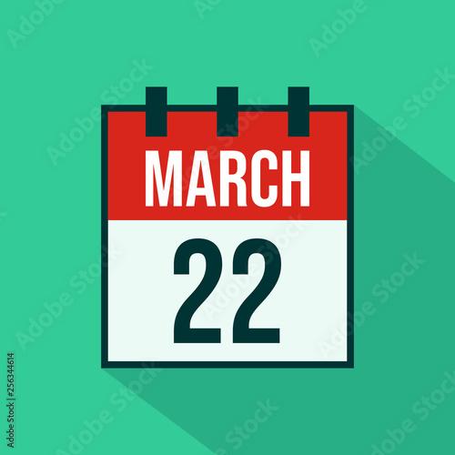 Fotografia  Calendar Icon of 22 March - Vector