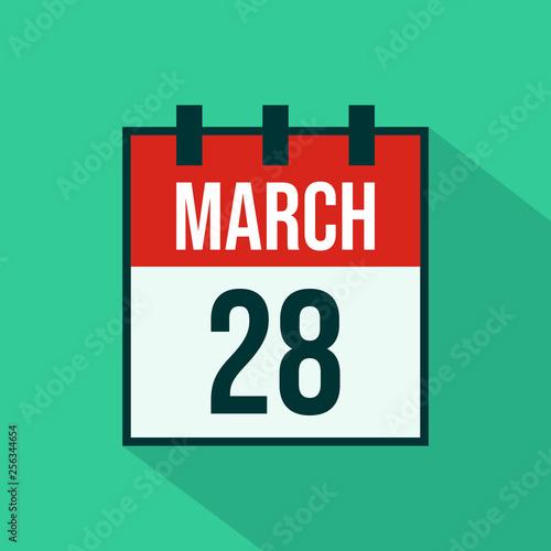Fotografia  Calendar Icon of 28 March - Vector