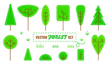 Set Of Patch Stylized Forest Plants: Trees, Bushes And Grass Isolated On White Background. Concept For Childish Or Eco Design. Flat Style. Vector 10 EPS Illustration.