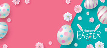 Easter Banner Design Of Eggs And Flowers On Color Paper Vector Illustration