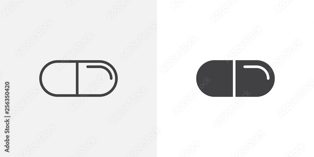 Fototapeta Medicine capsule icon. line and glyph version, outline and filled vector sign. Medical pills linear and full pictogram. Symbol, logo illustration. Different style icons set