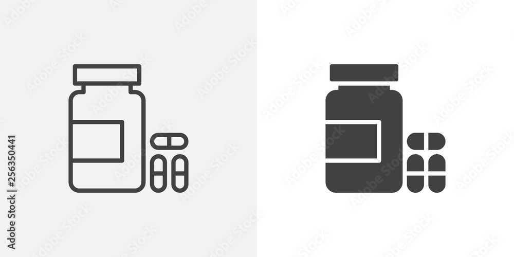 Fototapeta Medical pills bottle icon. line and glyph version, outline and filled vector sign. Medicine capsule linear and full pictogram. Symbol, logo illustration. Different style icons set