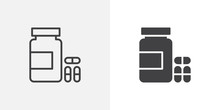 Medical Pills Bottle Icon. Lin...