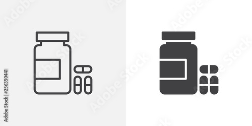 Fototapeta Medical pills bottle icon. line and glyph version, outline and filled vector sign. Medicine capsule linear and full pictogram. Symbol, logo illustration. Different style icons set obraz