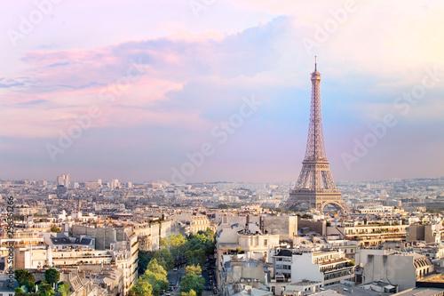 Foto auf Leinwand Paris Sunset Eiffel tower and Paris city view form Triumph Arc. Eiffel Tower from Champ de Mars, Paris, France. Beautiful Romantic background.