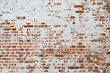 Leinwanddruck Bild - The texture of the old brick wall painted white with peeling paint