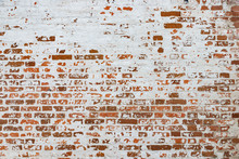 The Texture Of The Old Brick Wall Painted White With Peeling Paint