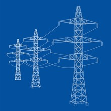 Electric Pylons Or Electric Towers Concept. Vector