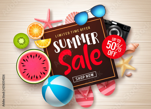 Fototapety, obrazy: Summer sale vector banner template. Summer sale promotional discount text in frame with colorful summer elements and tropical fruits in wood texture background. Vector illustration.