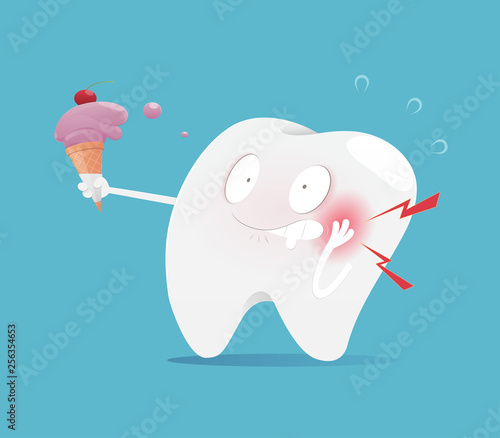 Fotografia Illustration tooth eating ice cream make sensitive teeth, The concept with denta