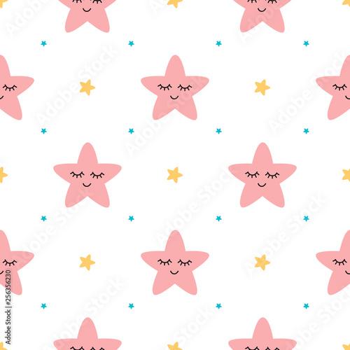 Vector seamless pattern sleeping pink stars on white backgound Cute children baby shower fabric design