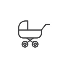 Baby Carriage, Pram Line Icon. Linear Style Sign For Mobile Concept And Web Design. Stroller Outline Vector Icon. Symbol, Logo Illustration. Pixel Perfect Vector Graphics