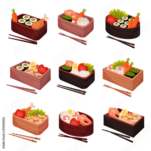 Photo Japanese food on white background. Traditional oriental cuisine.