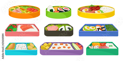 Japanese food in colorful lunch boxes set. Wallpaper Mural