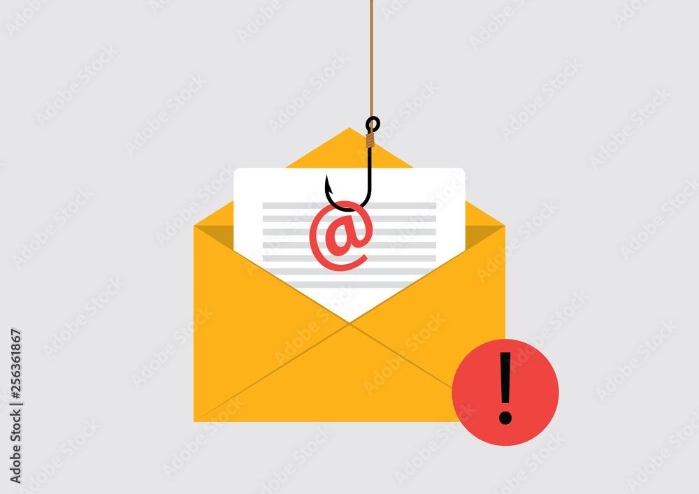 Fototapeta Illustration of Phishing Attack on email
