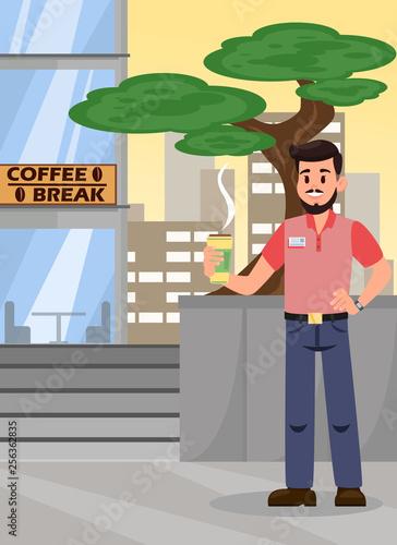 Man at Coffee Break Cartoon Vector Illustration Wallpaper Mural