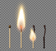 Realistic Match Stick Flame Ic...