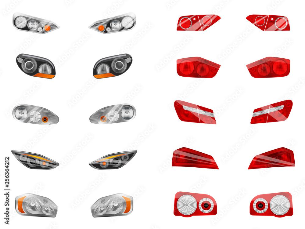 Fototapeta Auto Lights Realistic Collection - obraz na płótnie
