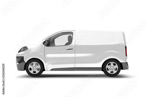 Fotomural Mock up of a van on a white background - 3d rendering