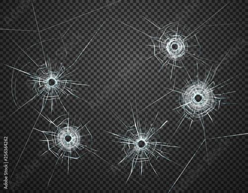 Bullet Holes Glass Transparent Realistic Fotobehang