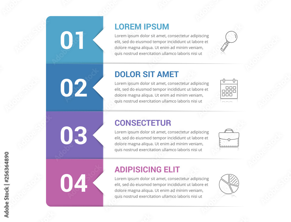 Fototapeta Infographic Template with 4 Steps