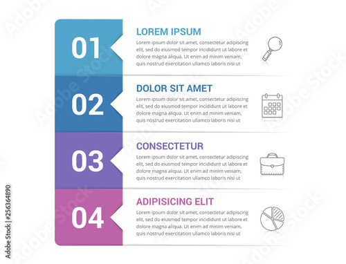 Infographic Template with 4 Steps Tableau sur Toile