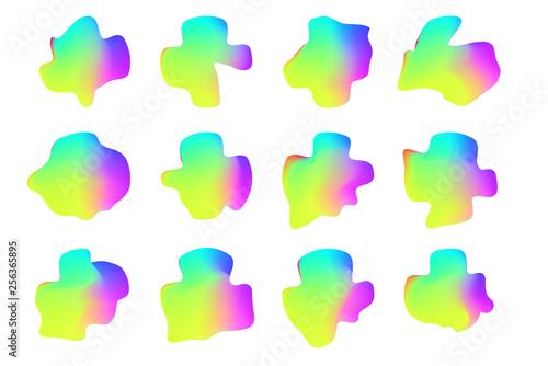 Fototapeta Set of 12 vector isolated liquid gradient objects for design, banner, flyer, business card, poster, wallpaper, brochure, smartphone screen, mobile app obraz na płótnie