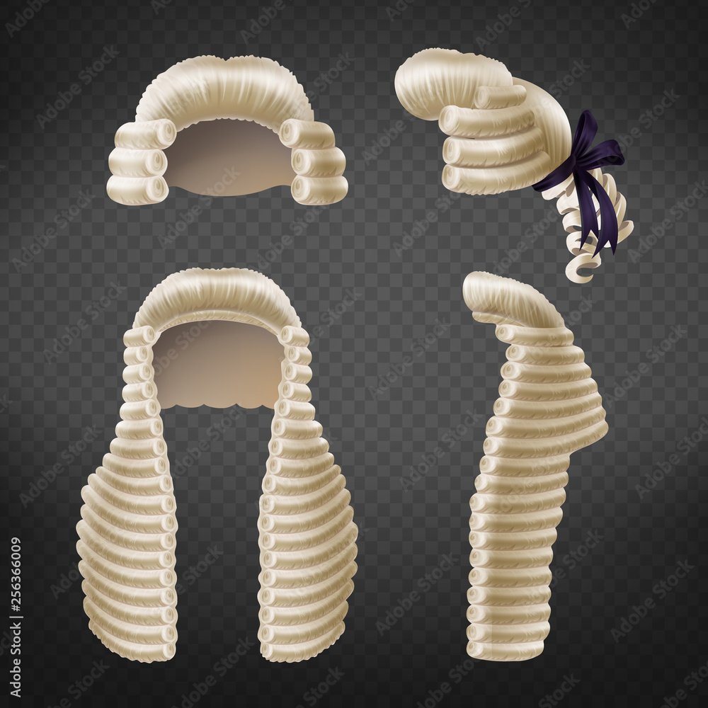 Fototapeta Long and short 18th century men curled wigs or perukes front and side view 3d realistic vector isolated on transparent background. Court dressing element, judges and advocates apparel illustration