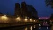 Notre Dame de Paris in France at night